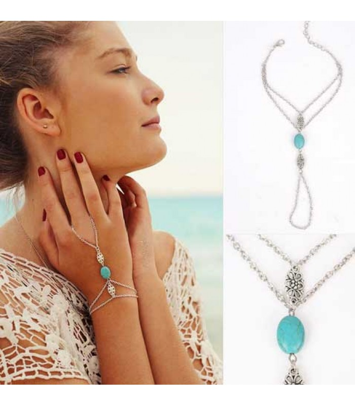 Aqua Stone Hand Chain Bracelet for Ladies