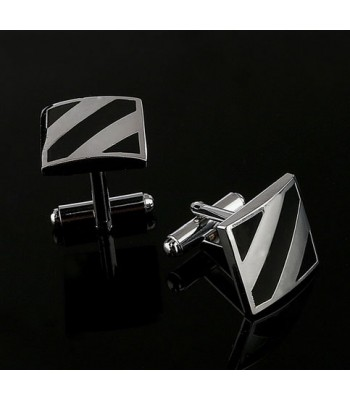 Silver Stripe Cufflinks for Men