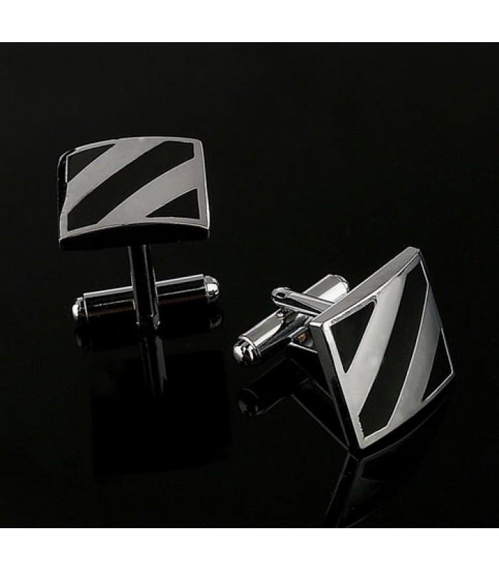 Silver Stripe Cufflinks for Men