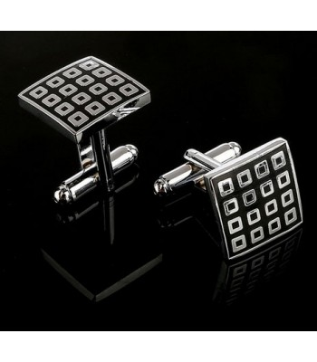 Black Geometric Cufflinks for Men