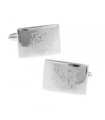 Men's Silver Cufflinks with Engraved Lion