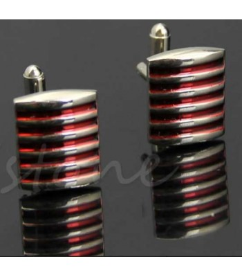 Red Striped Silver Mens Cufflinks