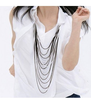 Womens 7 Layer Chain Necklace