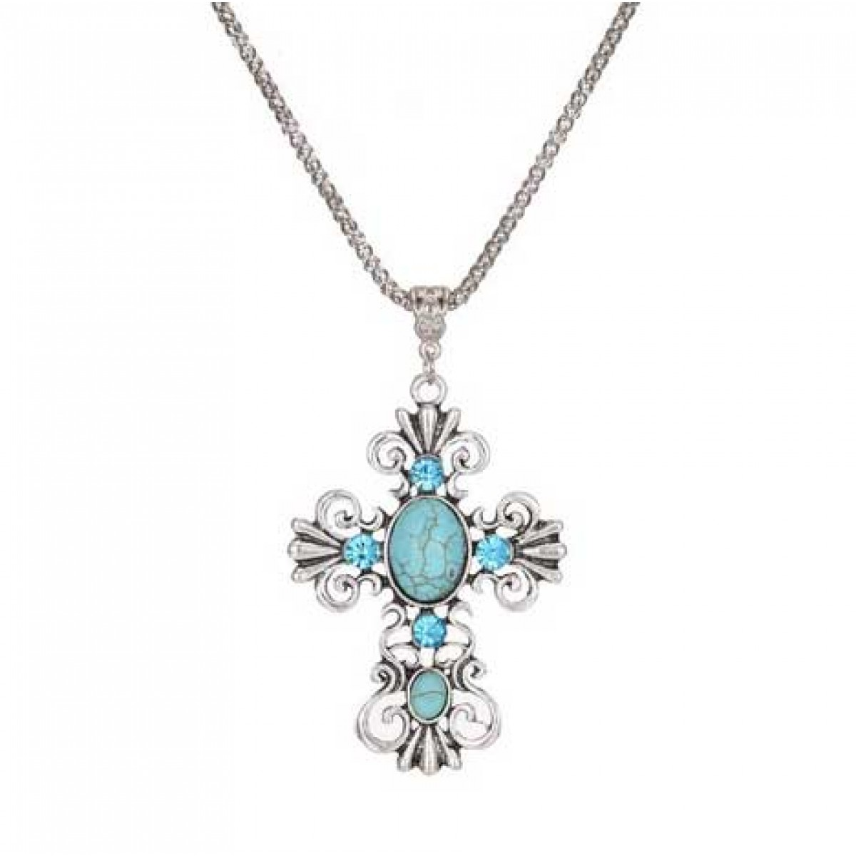 turquoise silver cross necklace for women. Black Bedroom Furniture Sets. Home Design Ideas