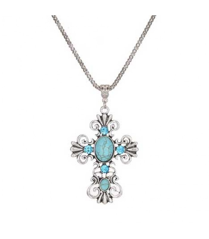 Turquoise Silver Cross Necklace for Women