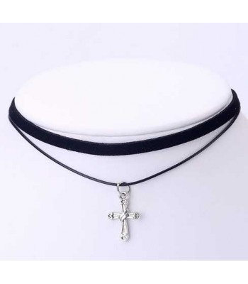 Black Cross Choker Necklace for Girls