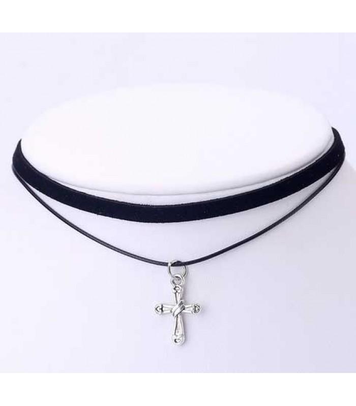 Black Cross Choker Necklace for Girls