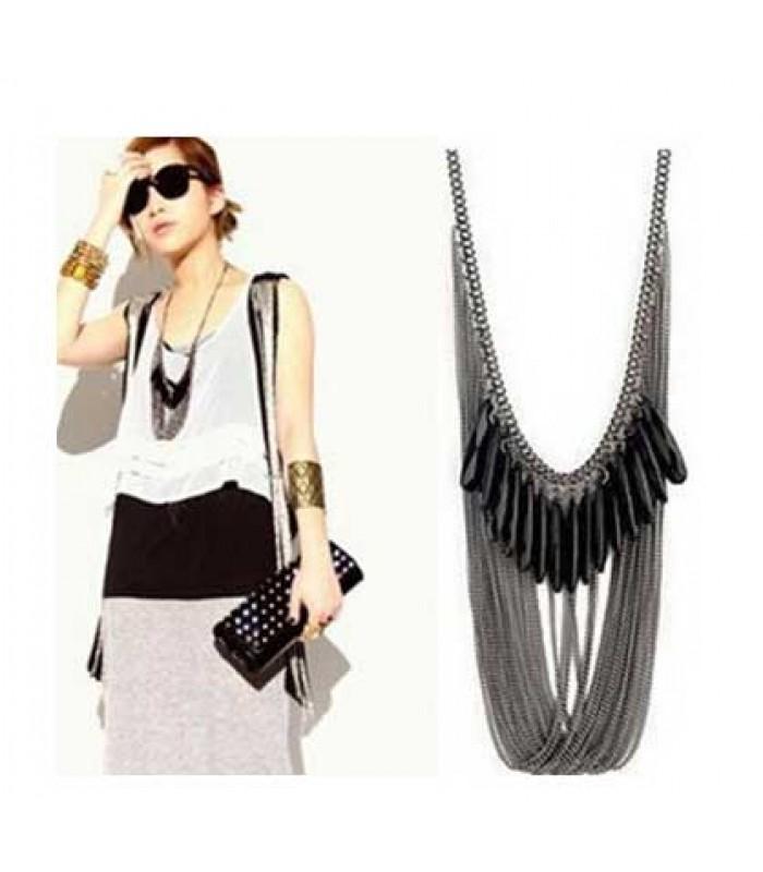 Black Teardrop Necklace for Women