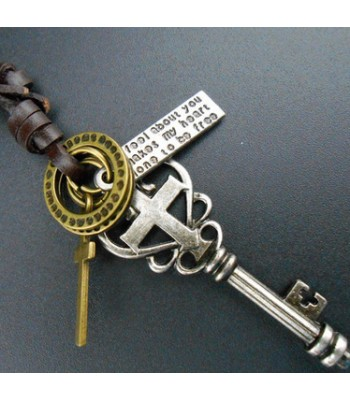 Long Key Necklace with Cross for Men