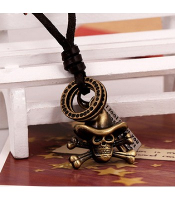 Skull Necklace Leather Pendant