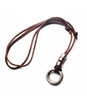 Leather Circle Necklace for Men