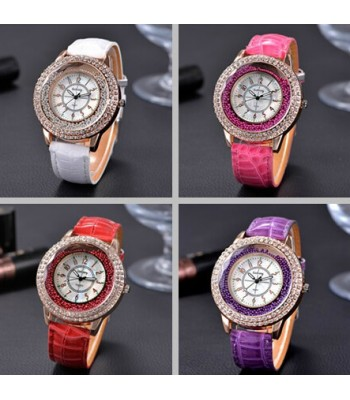 Shinning Rhinestones - Leather Watch