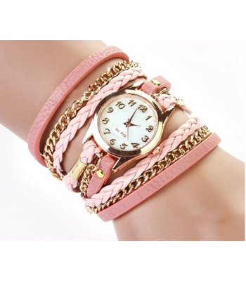 Pink Leather Wrap Stud Watch