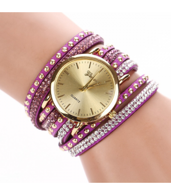 Purple Leather Wrap Stud Watch