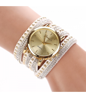 White Leather Wrap Stud Watch